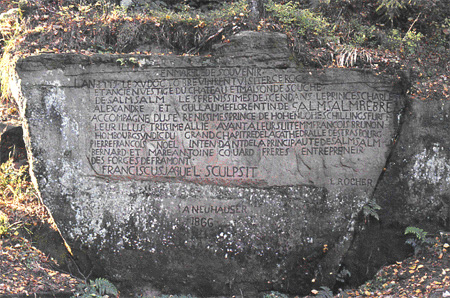 Inscription commémorative de la visite des princes de Salm-Salm en 1779