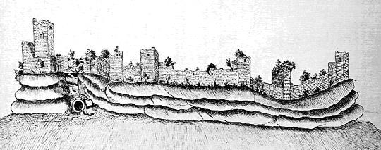 Les ruines du château de Pierre Percée vers 1755