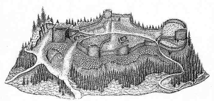 Vue d'artiste de la ruine de Salm (Source: SCHAUDEL Louis)