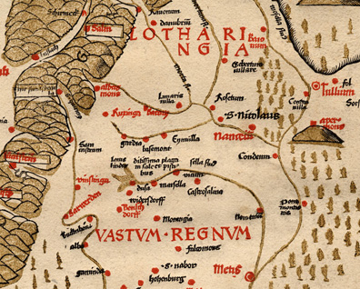 Extrait de la carte de Lorraine de 1520